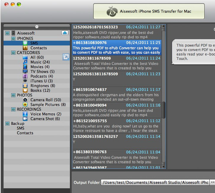 Aiseesoft iPhone SMS Transfer for Mac