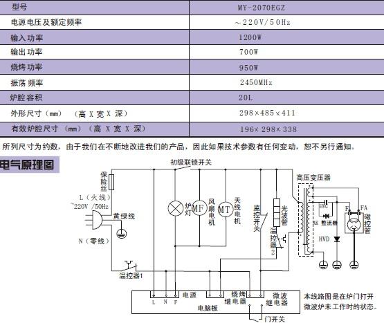 海尔微波炉ME-2080MG(MS)型使用说明书