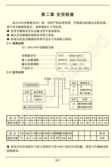 方禾F66E-3300变频说明书