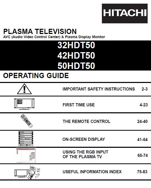 日立42HDT50液晶彩电使用手册