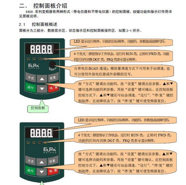 欧瑞传动E800-3550T3变频器使用说明书