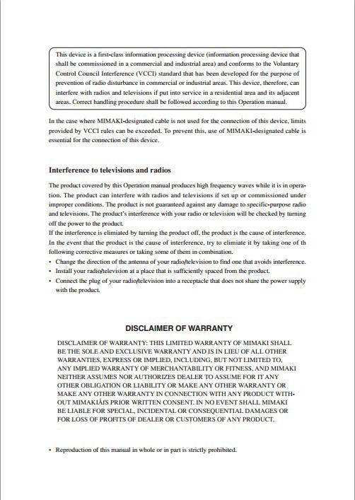 Mimaki CF2-1218打印机说明书