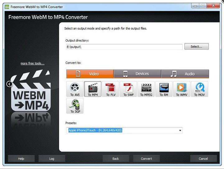 Freemore WebM to MP4 Converter