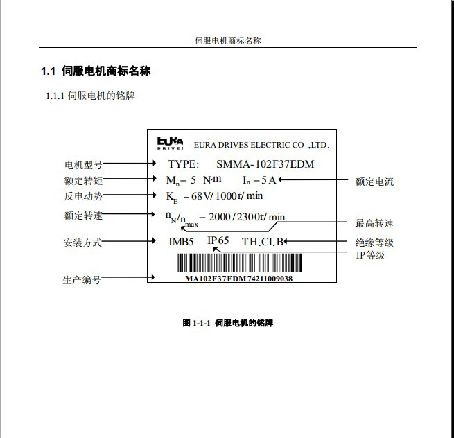 欧瑞SMMA-122F35BCM伺服电机使用手册