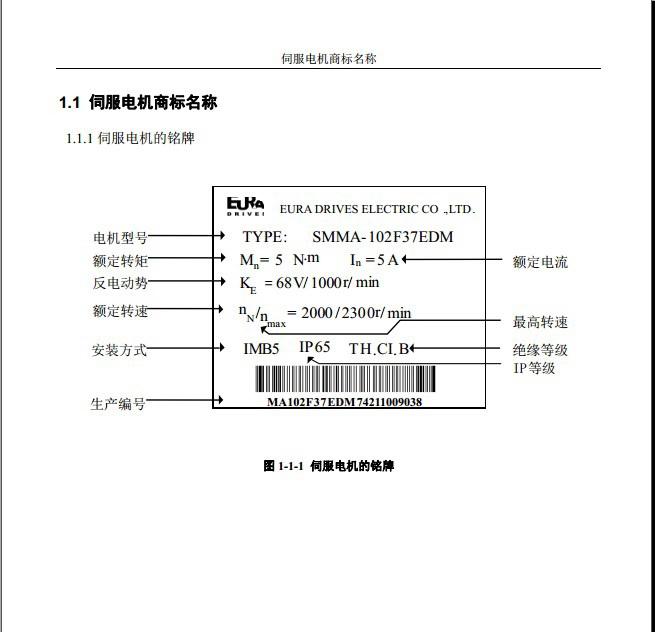 欧瑞SMSA-761F34BDM伺服电机使用手册