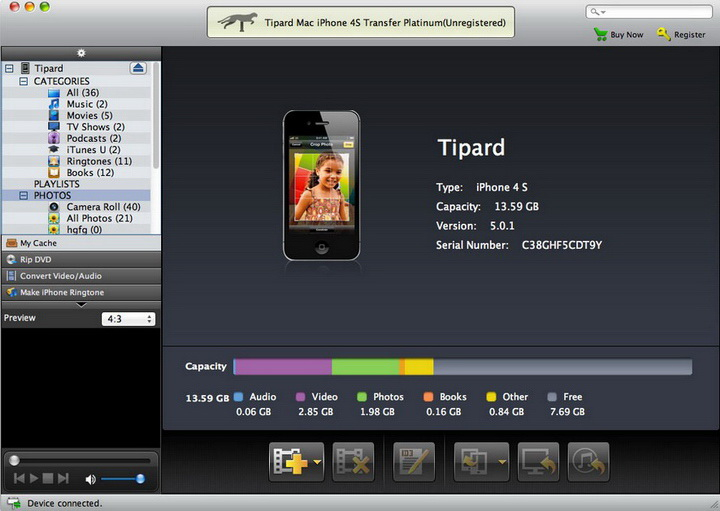 Tipard iPhone 4S Transfer Pro for Mac