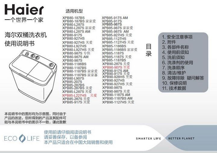 海尔XPB80-987S AM洗衣机使用说明书