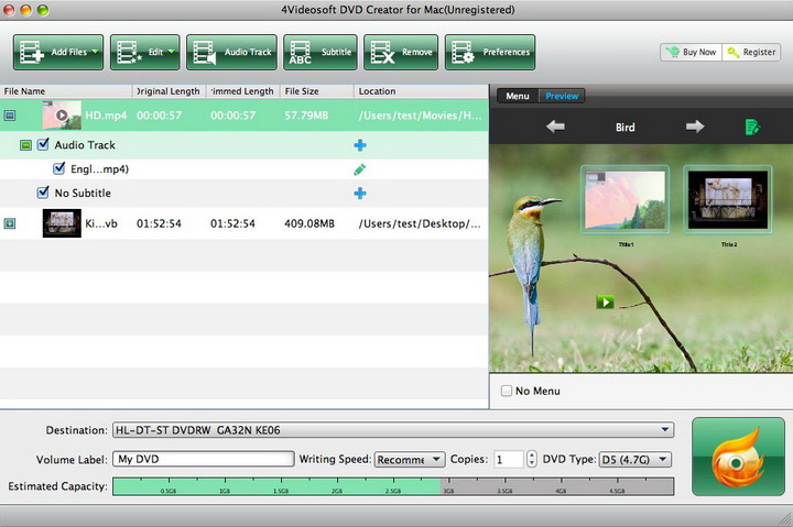 4Videosoft DVD Creator for Mac