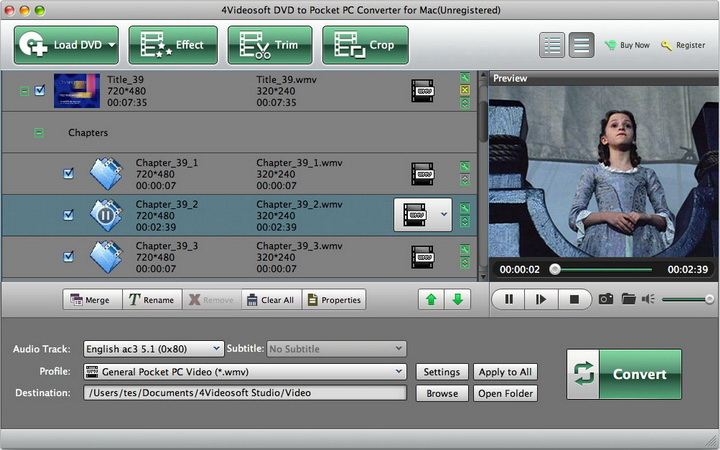 4Videosoft DVD to Pocket PC Converter for Mac