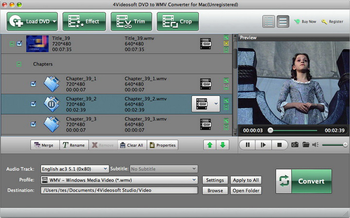 4Videosoft DVD to WMV Converter for Mac