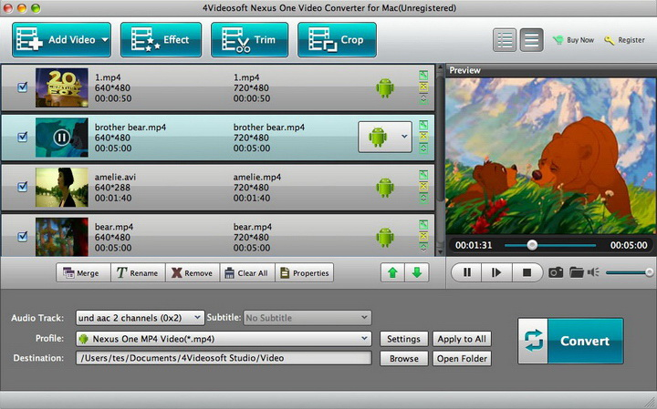 4Videosoft Nexus One Video Converter for Mac