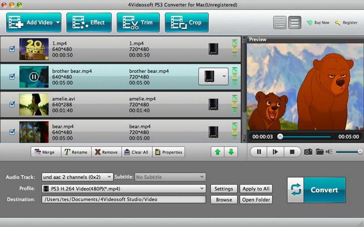 4Videosoft PS3 Converter for Mac