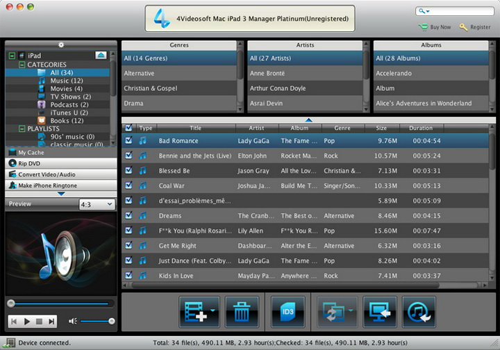 4Videosoft iPad 3 Manager for Mac