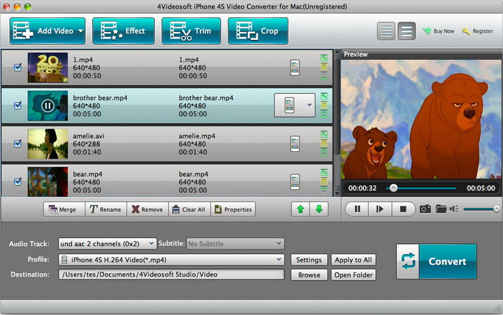 4Videosoft iPhone 4S Video Converter for Mac