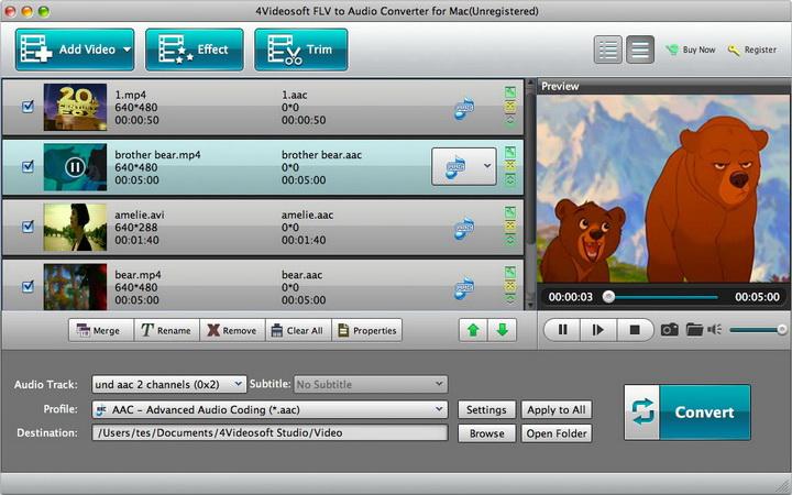 4Videosoft FLV to Audio Converter for Mac