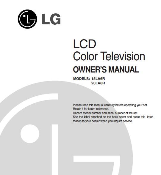 LG 20LA6R液晶彩电用户手册