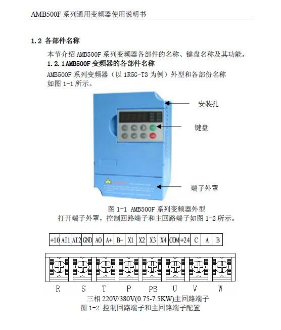 安邦信AMB500F-0R7G-S3变频器使用说明书