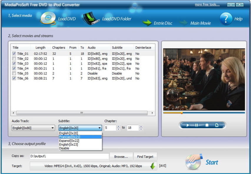 MediaProSoft Free DVD to iPod Converter