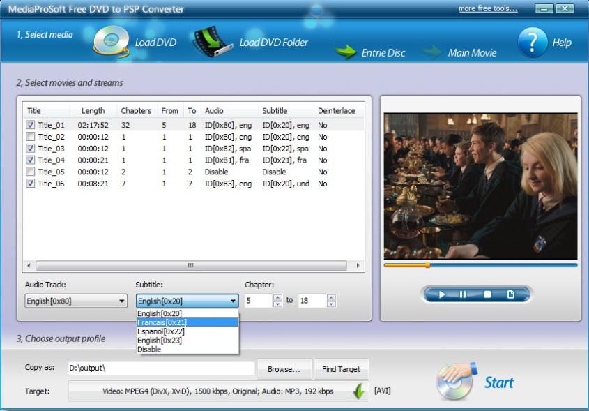 MediaProSoft Free DVD to PSP Converter