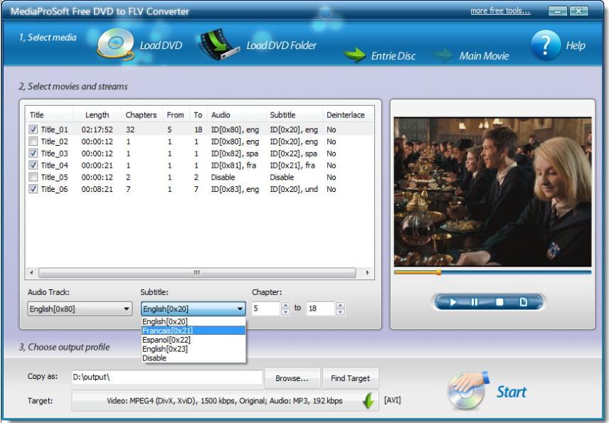 MediaProSoft Free DVD to FLV Converter