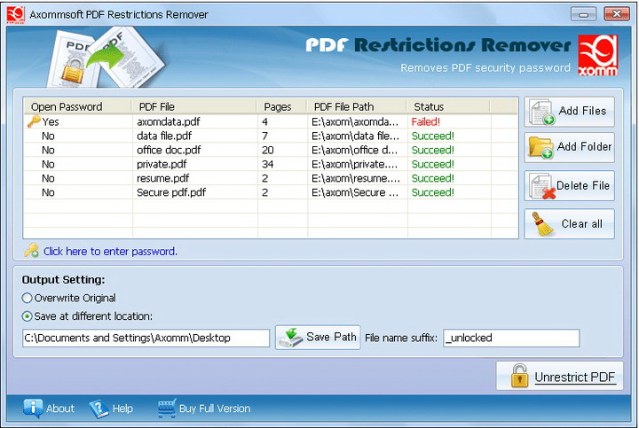 Axommsoft PDF Restrictions Remover