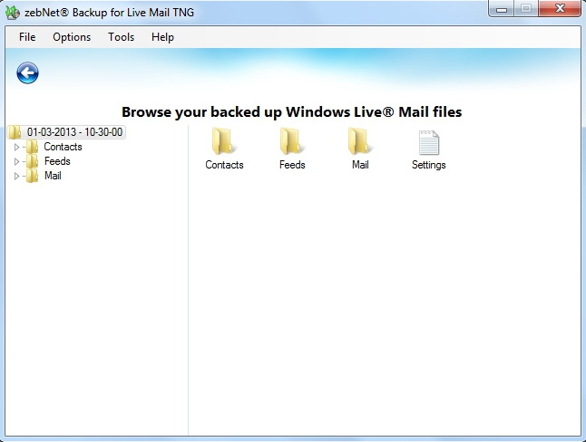 Backup for Live Mail