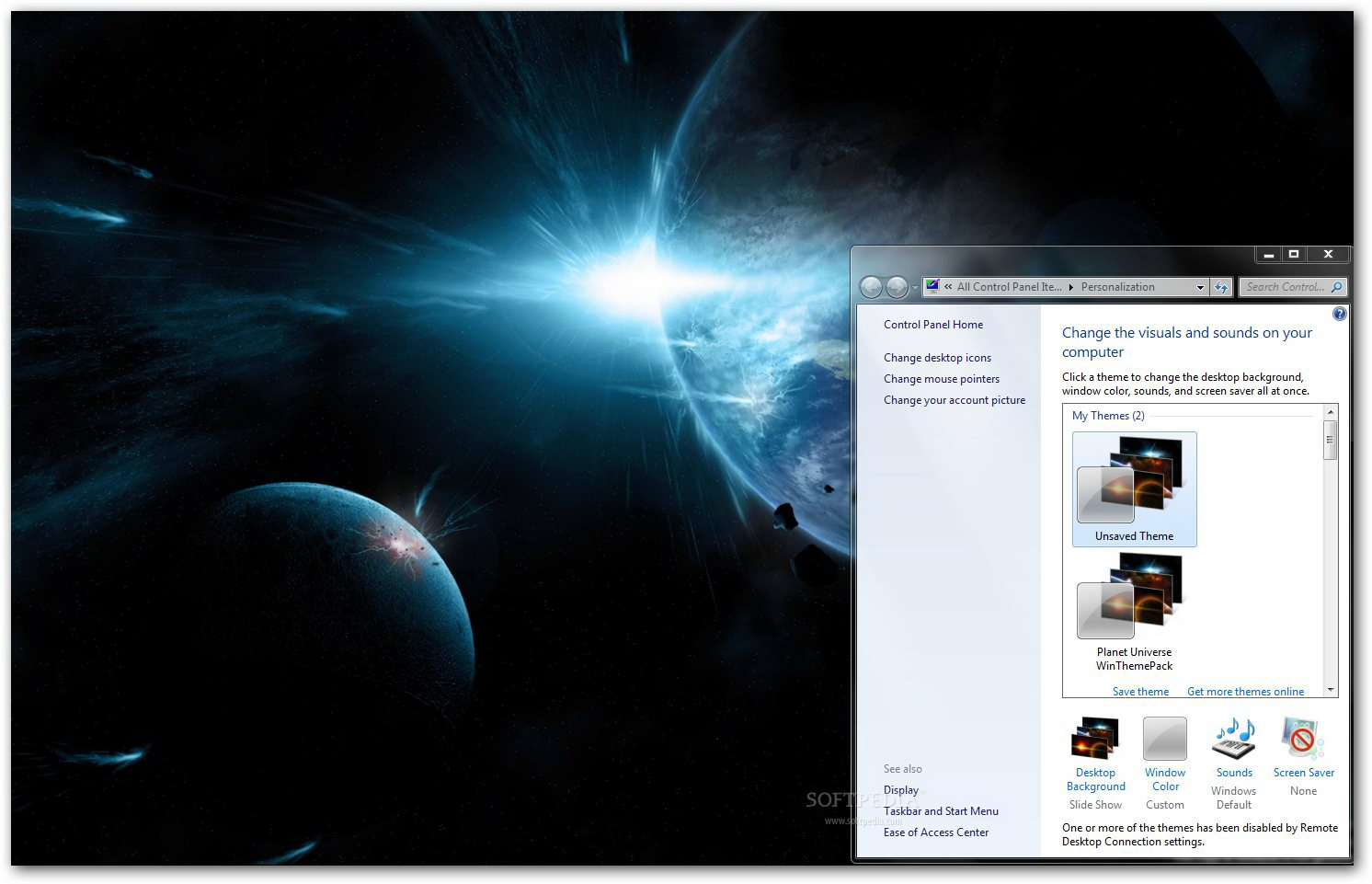 Planet Universe Windows Theme