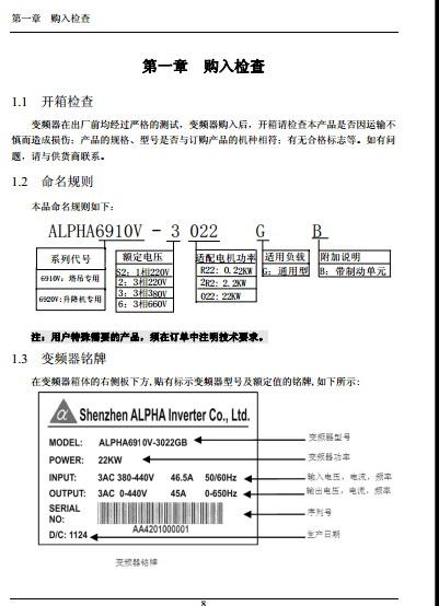 阿尔法ALPHA6910V-3220G起重专用型变频器使用说明书