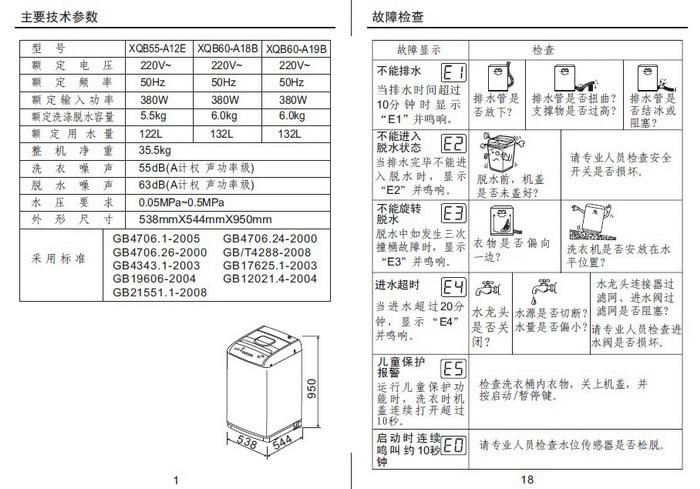 金羚xqb60-a19b洗衣机使用说明书
