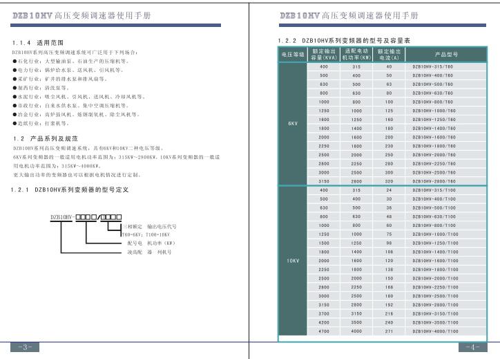 富凌DZB10HV-2250/T100变频器使用说明书