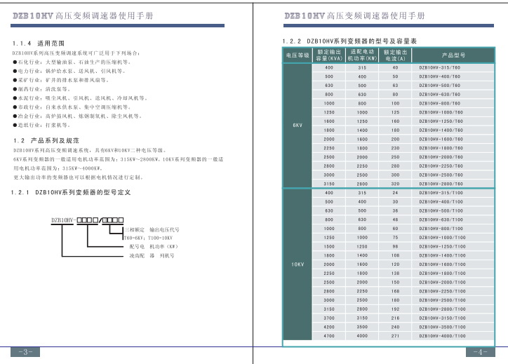 富凌DZB10HV-800/T60变频器使用说明书