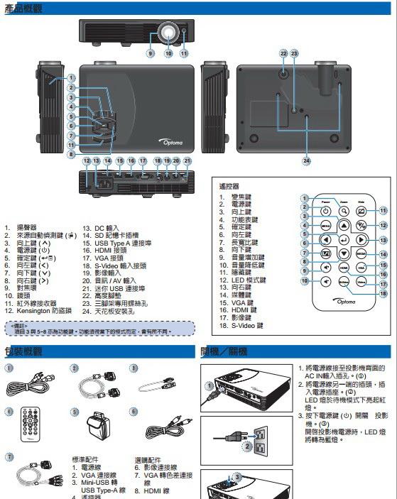 Optoma奥图码ML500投影机说明书