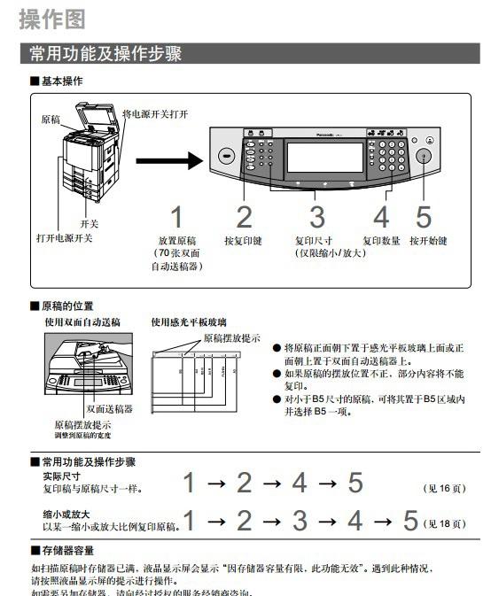 松下DP-4510数码复印机一体机使用说明书