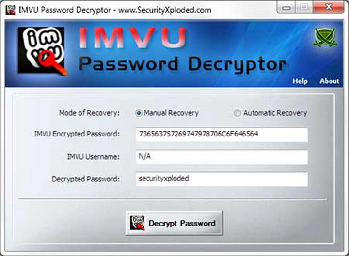 IMVU Password Decryptor