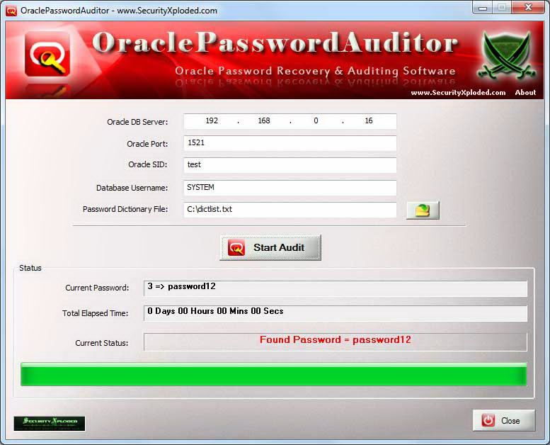 Oracle Password Auditor
