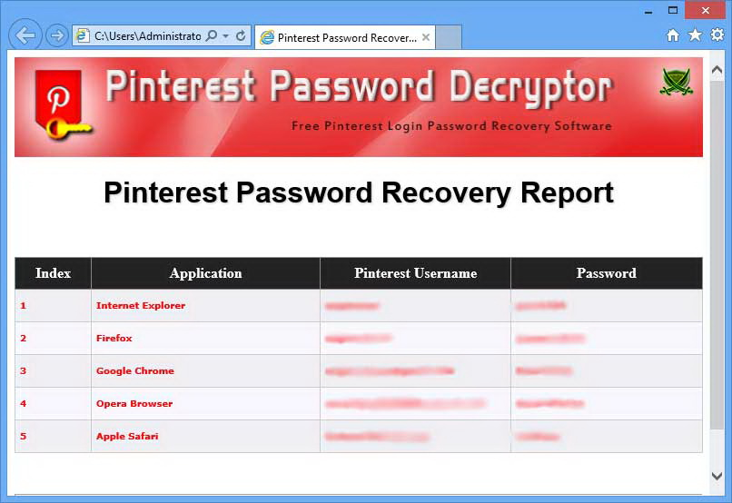 Pinterest Password Decryptor