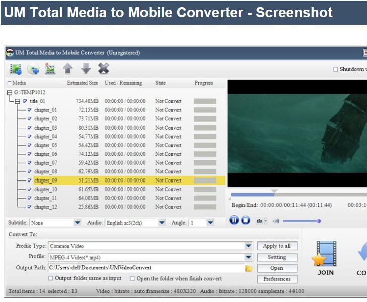 UM Total Media to Mobile Converter