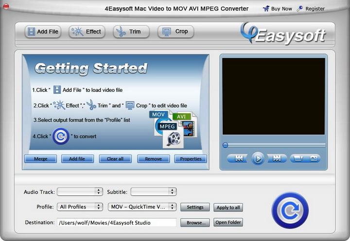 4Easysoft Mac Video to MOV AVI MPEG Converter