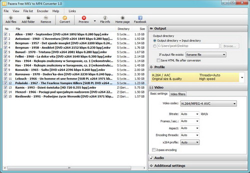 Pazera Free MKV to MP4 Converter Portable