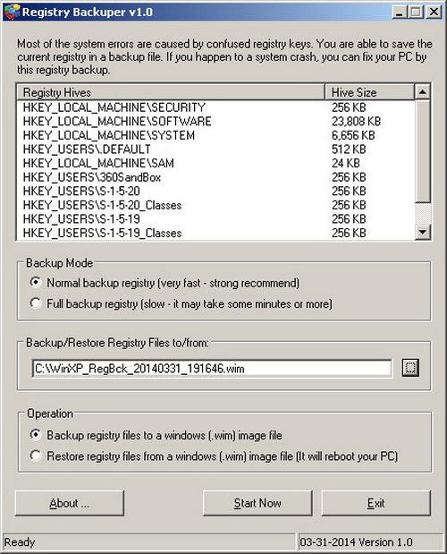 Registry Backuper portable(64bit)