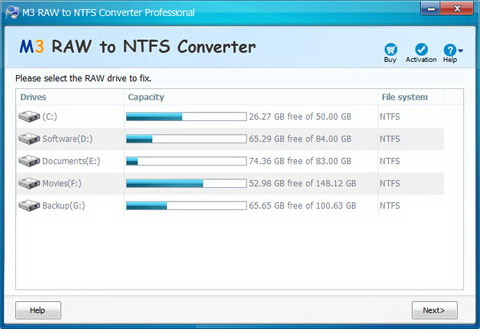 M3 RAW to NTFS Converter