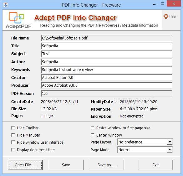 Adept PDF Info Changer
