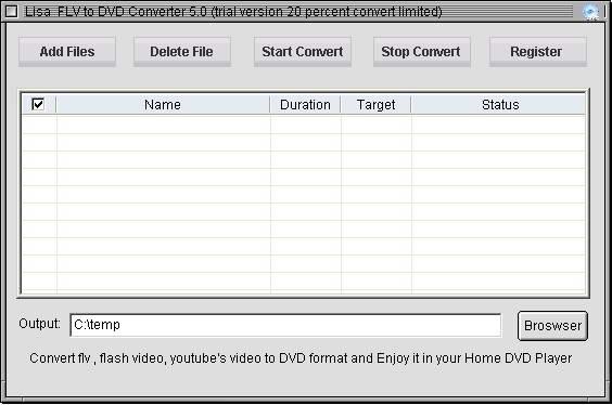 lisasoft FLV to DVD Converter