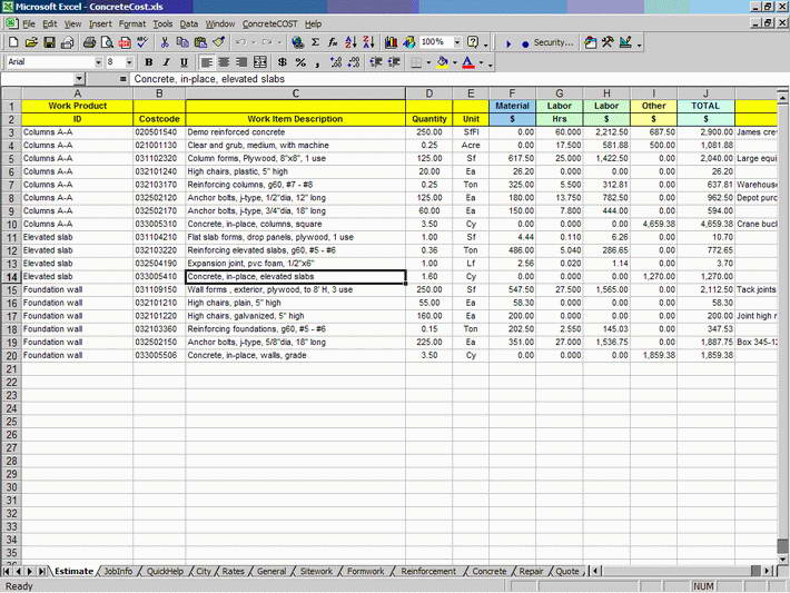 ConcreteCOST Estimator for Excel