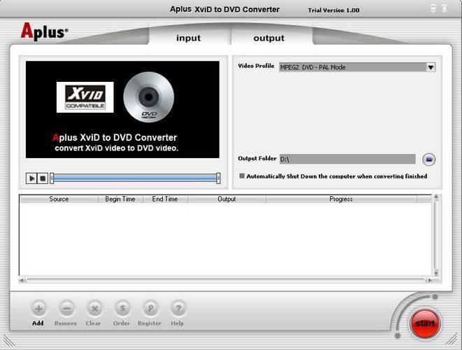 Aplus XviD to DVD Converter