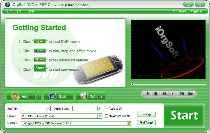 iOrgSoft DVD to PSP Converter