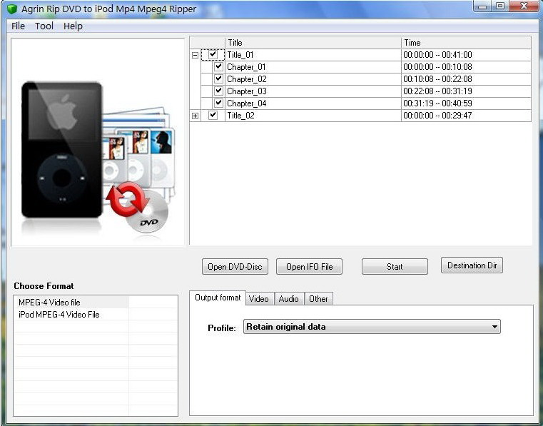 Agrin Rip DVD to iPod Mp4 Mpeg4 Ripper