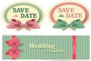 婚礼邀请卡矢量模板设计