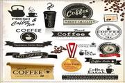 咖啡主题标签矢量设计素材