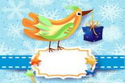 彩色剪贴鸟卡片矢量设计